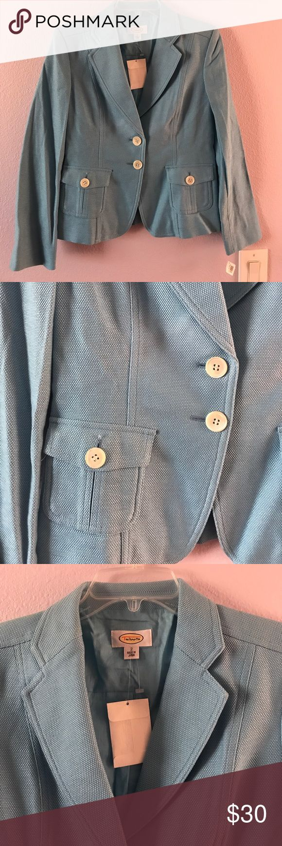 Vintage new light blue Talbots cotton jacket Vintage new light blue Talbots cotton jacket with extra buttons. Very cute. Made in Japan Talbots Jackets & Coats Blazers