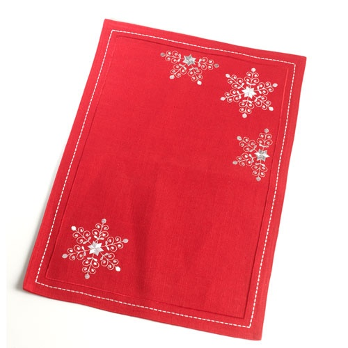 Snowflake Embroidered Placemat,         Snowflake Embroidered Placemat, Boscovs