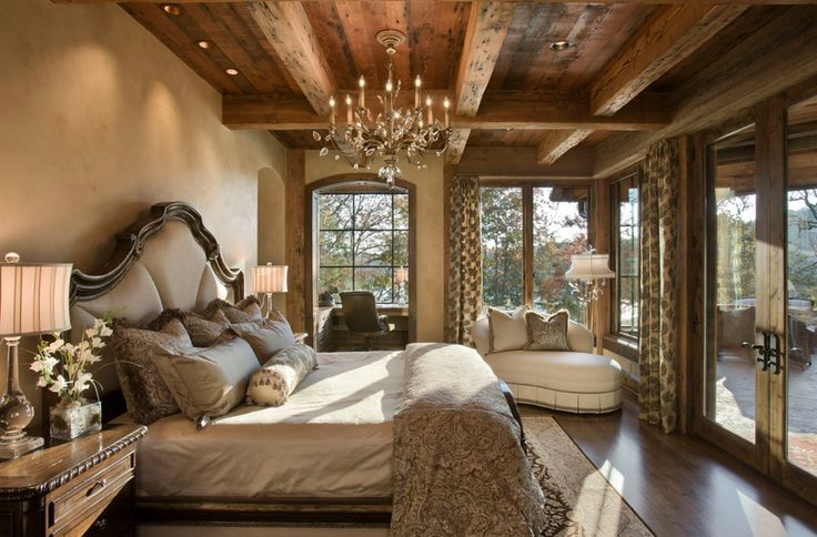 - One of my favorite rooms - Love the color scheme - dark wood & light walls - Like the warm lighting - Like the chandelier -cabin/rustic fel to it