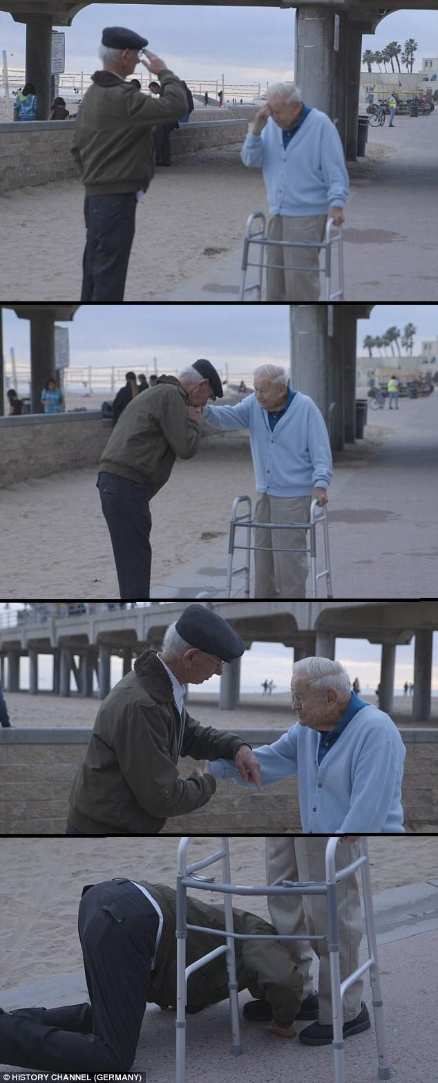 Holocaust survivor salutes US soldier who liberated him from concentration camp  WOW this is amazing