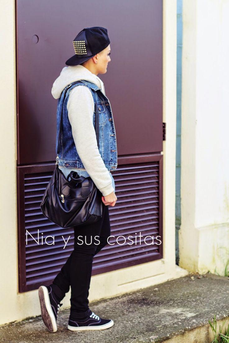 Nia y sus cositas: OUTFITS CON CHALECO ft. YOINS gorra choies cazadora capucha chaleco bolso negro camisa denim H&M vans primark