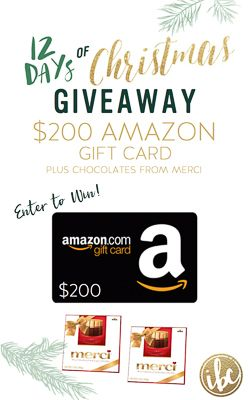 It's the 12 Days of Christmas! ENTER TO WIN a $200 AMAZON gift card via @inspiredbycharm #IBCholiday