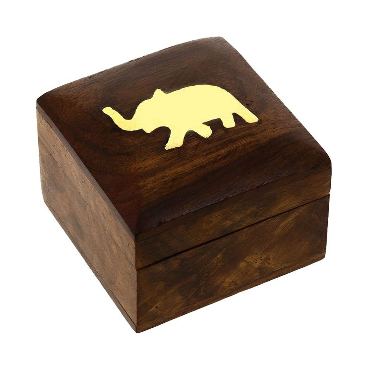 Jewellery Box Wooden Square (Mango) With Brass Elephant