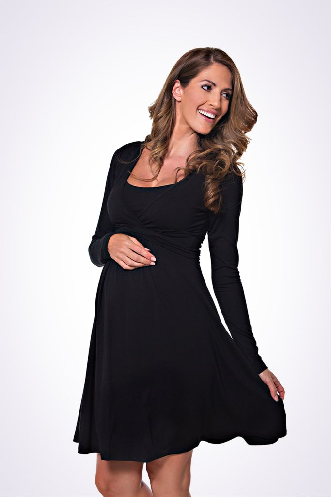 The Lonzi&Bean UltiMum long sleeve maternity and breastfeeding dress in black