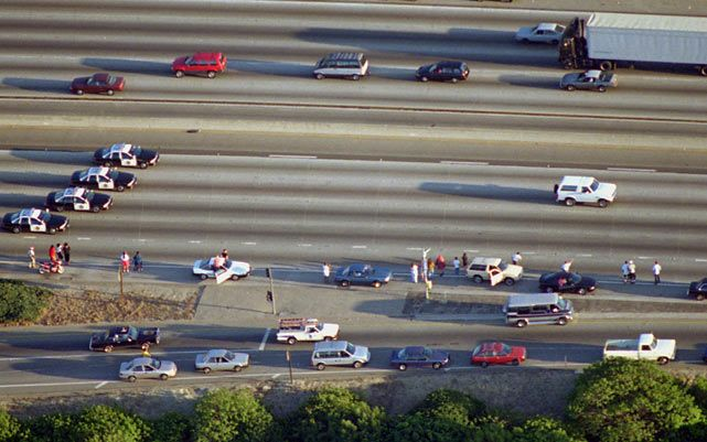 OJ Simpson Bronco chase. My eyes were glued to the TV during this, besides the times me and my friends were begging my mom to drive us around to find it.