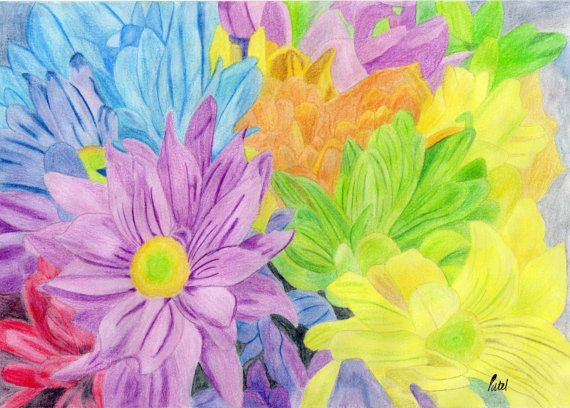 Brightly Coloured Flowers Poster 30cmx42cm by BavsCrafts on Etsy, £13.00