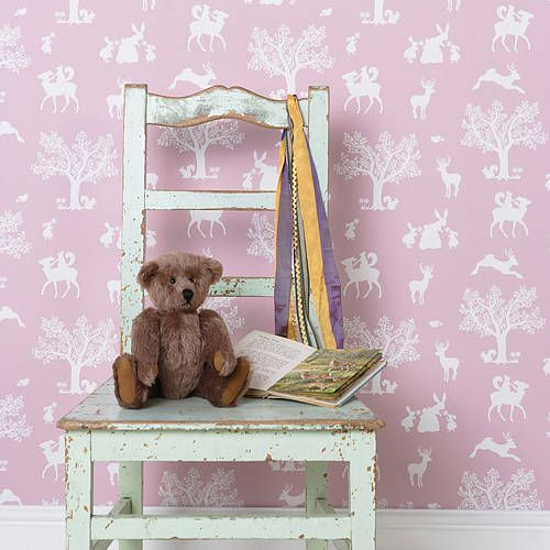 Enchanted Woodland Peony Child's Wallpaper