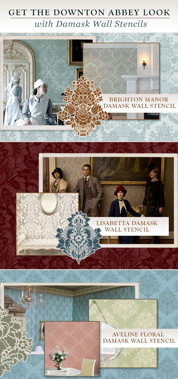 Best 25 damask wall stencils ideas on pinterest damask wall get the downton abbey home decor look with damask wall stencils from royal design studio amipublicfo Image collections