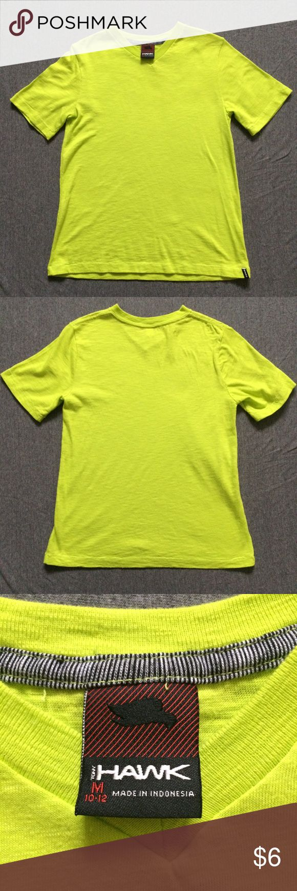 TONY HAWK • Green Yellow Tee • M (10/12) Brand: Tony Hawk Size: Medium 10/12 Color: Green Yellow Condition: Excellent, has a very very tiny hole on right sleeve seam (shown in picture) Tony Hawk Shirts & Tops Tees - Short Sleeve