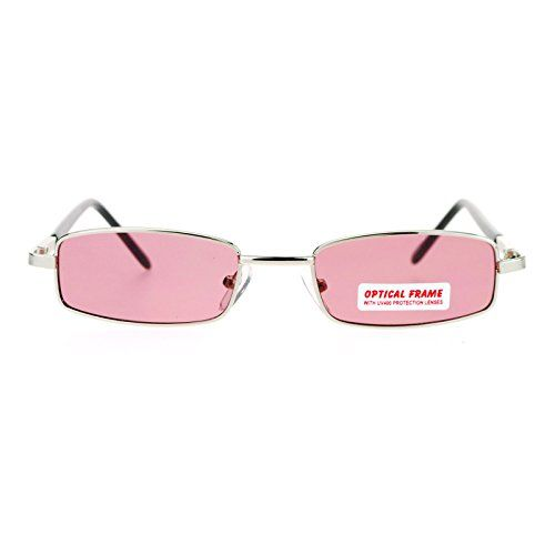 SA106 Small Mens Rectangular Metal Rim Classic Color Lens Sunglasses Silver  Rose  c4ca5c9bf745