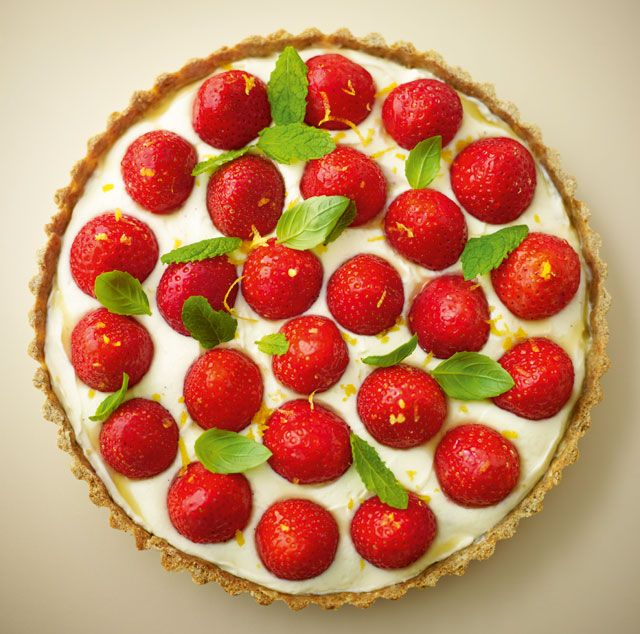 Strawberry open tart with lemon & vanilla 'cream' served with basil & mint | News | Lorraine Pascale