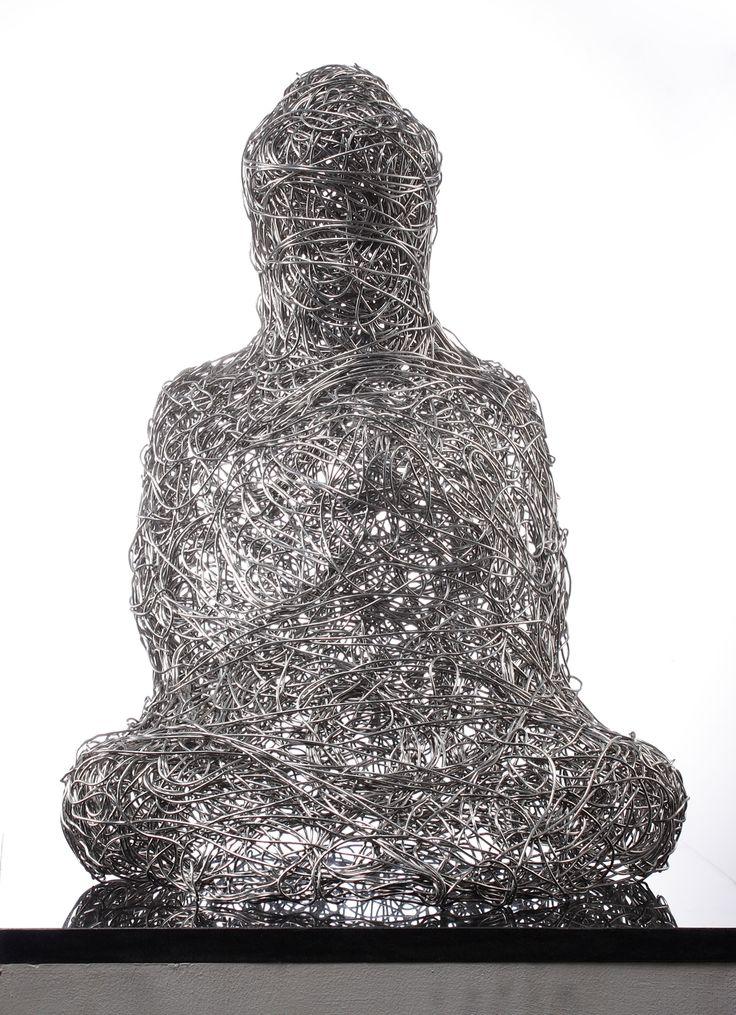 buddha ,430x380x580mm.aluminum wire,fiber glass, lifecasting,2008