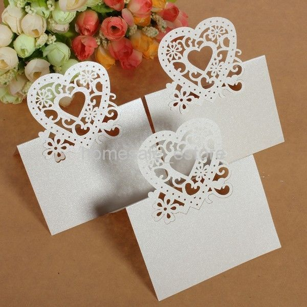 10pcs Heart Cut-out Wedding Party Christmas Table Decoration Place Name Cards