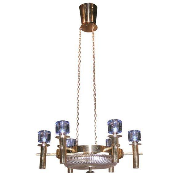 Finnish Chandelier  Finland  c. 1950  Classic-modern brass, crystal, and cobalt-blue glass, six arm chandelier