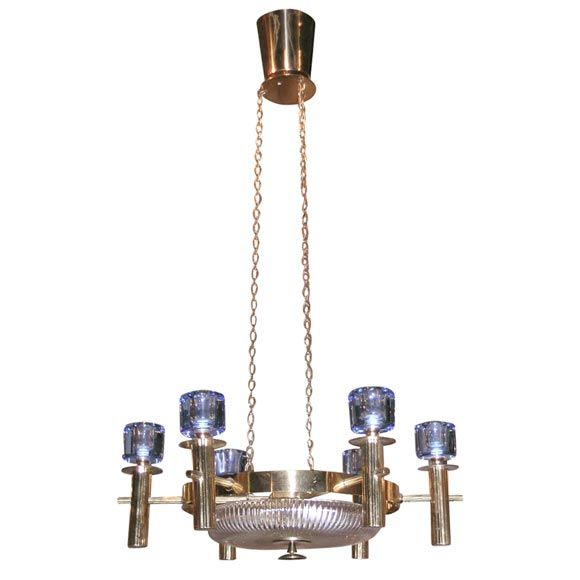 Finnish Chandelier  Finland  c. 1950  Classic-modern brass, crystal, and cobalt-blue glass, six arm chandelier
