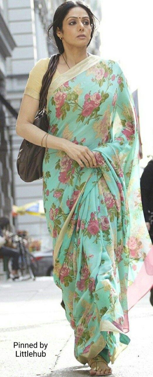 Sridevi in floral chiffon sari