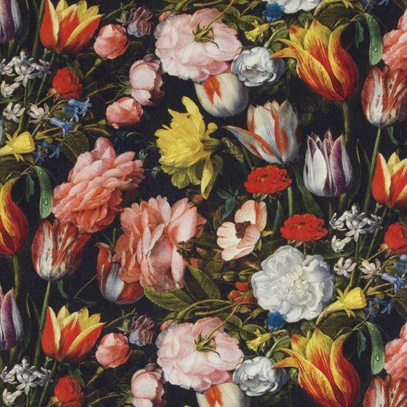 Bavlněná látka Květy a tulipány na černé De Luxe