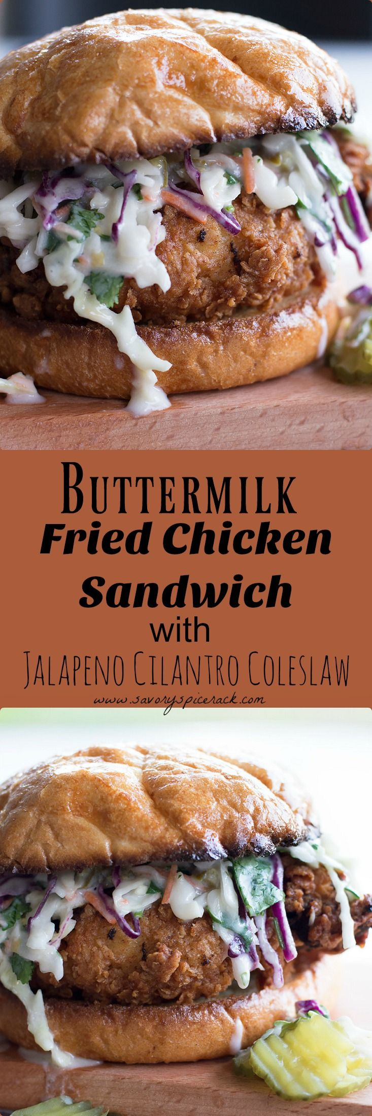 I love this Buttermilk Fried Chicken Sandwich with Cilantro Jalapeno Coleslaw.  Crispy, Juicy, Flavorful Fried Chicken Breast with a Spicy Buttermilk Coleslaw to end the summer!  But I still eat this thing throughout the year….