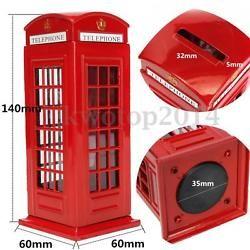 Británico Teléfono Caja Ahorro Hucha De Dinero Movil Cabina Monedas Donativos
