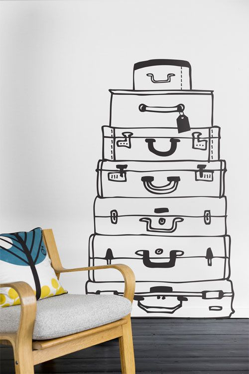 suitcases wall sticker