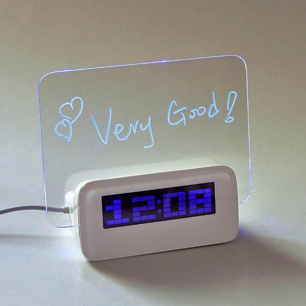 Reloj Despertador Tablero Luminoso Escribir Mensajes Multifunción USB