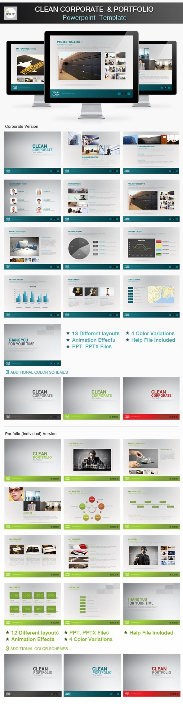 Clean Powerpoint Presentation - Business PowerPoint Templates