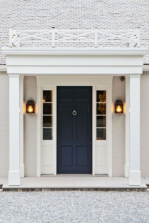 Front Entry Door | Clean white with nautical navy blue | Bevolo Flush Mount Coach House Lantern in Electric