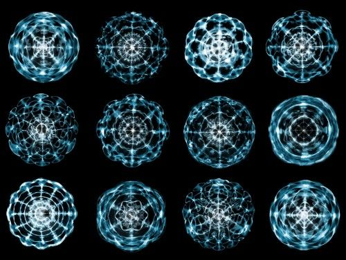 More water cymatic sound frequency geometric patterns.