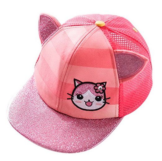 EOZY Mädchen Sommerhut UV-Schutz Basecap Mesh Pink Katze 46/48-Kopfumfang 45~47cm