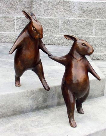 """I want, I want!!  She has a lot of wonderful bronze sculptures like this one.  Now if I can only win the lottery... Georgia Gerber, Chapter 5: """"A Promis Kept"""" Mukilteo Library Sculpture."""