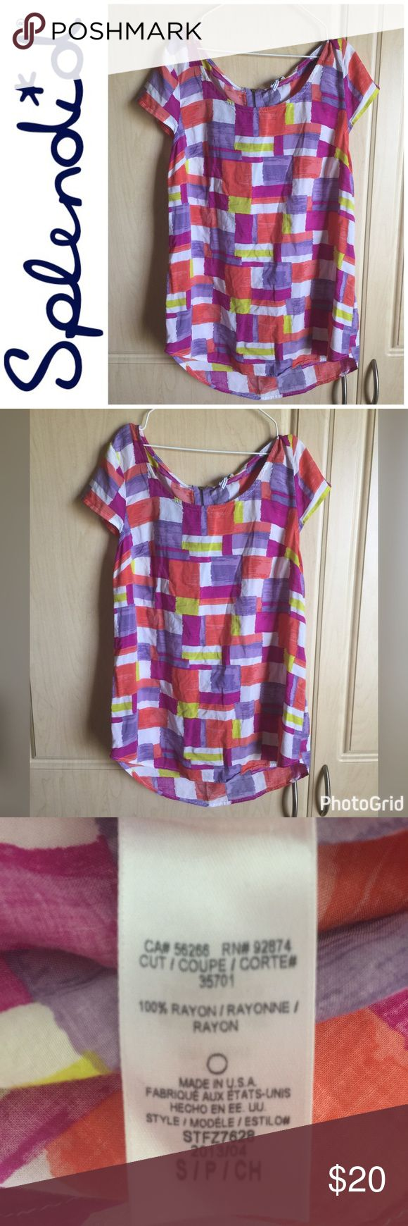 🎉2X Host Pick🎉Splendid Multi Color Top Small 🎉2X Host Pick 4/13/2017 & 6/17/2017🎉 Splendid Multi Color Print Short Sleeve Top Size Small With Zipper On Back, Fushcia Purple Yellow Coral, Shirt Is Super Soft, Mint Condition, Smoke & Pet Free Splendid Tops