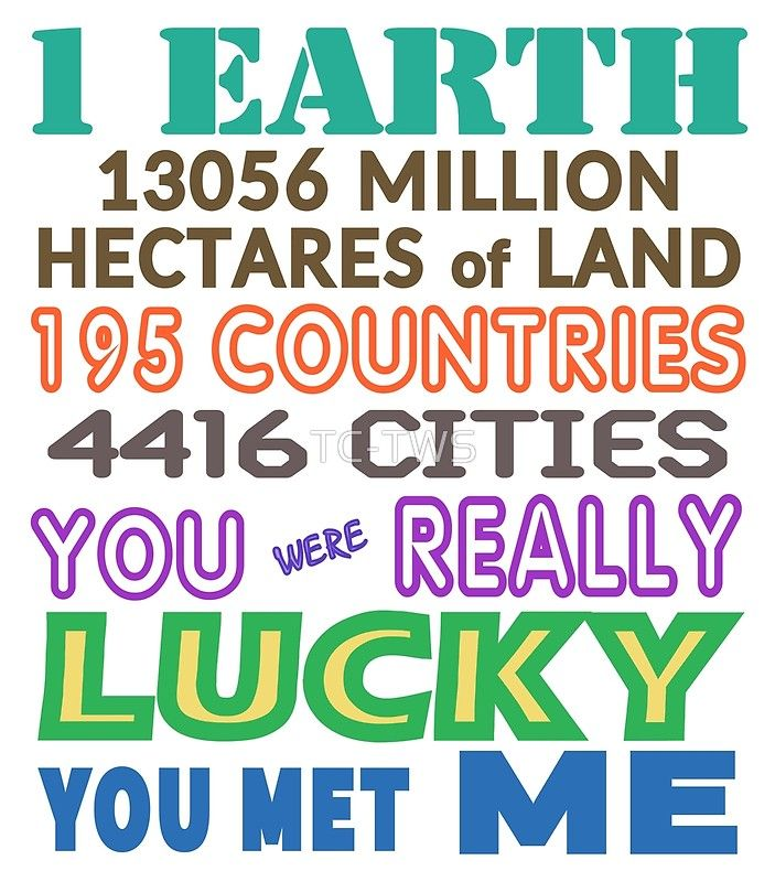 You Were Lucky You Met Me Poster by Terrella.  The text reads – 1 Earth, 195 countries, 4416 cities, 13056 million hectares of land.  You were really lucky you met me. • Also buy this artwork on wall prints, apparel, stickers, and more.