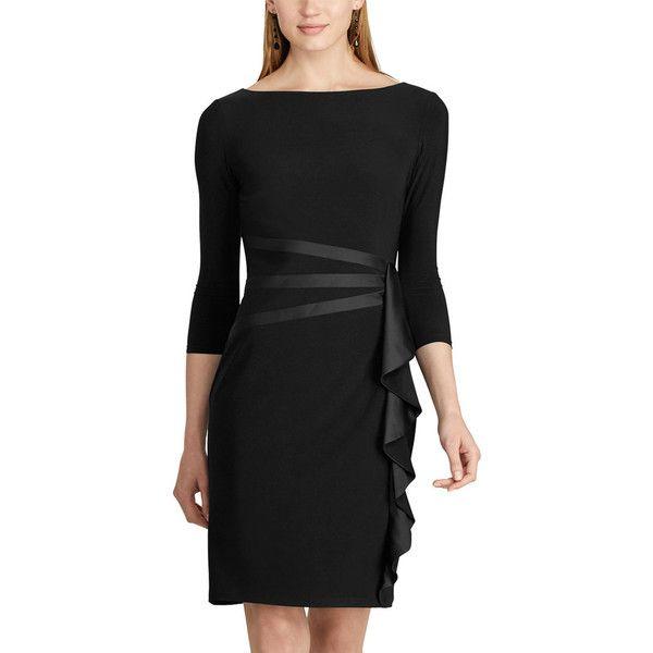 Women's Chaps Satin Trim Jersey Dress ($60) ❤ liked on Polyvore featuring dresses, black, petite, ruffle cocktail dress, boat neck cocktail dress, petite evening dresses, chaps dresses and cocktail dresses