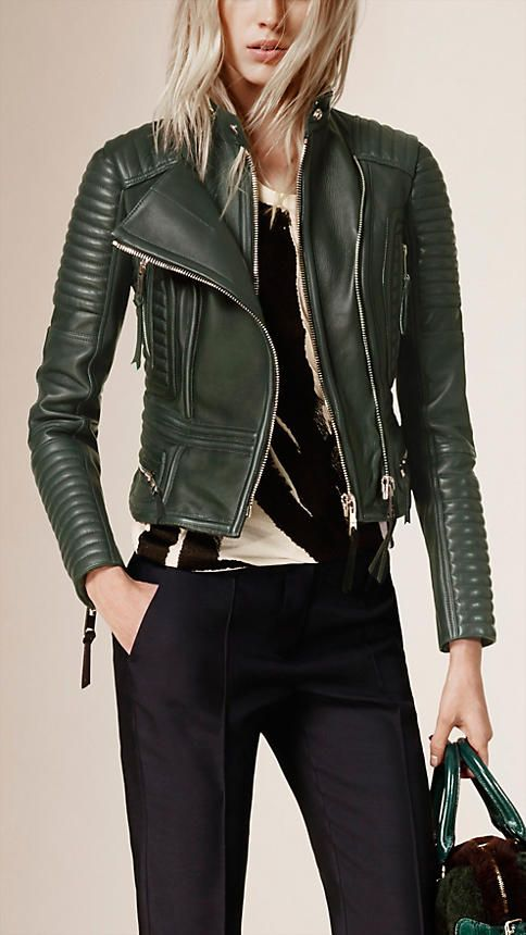 Dark racing green Peplum Waist Lambskin Biker Jacket - Image 1