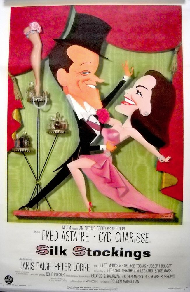 SILK STOCKINGS MOVIE POSTER! Fred Astaire/Cyd Charise/Cole Porter-Kapralik art!