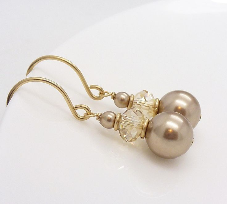 Gold champagne earrings, champagne pearl earrings, gold pearl wedding earrings, gold bridal jewelry via Etsy.