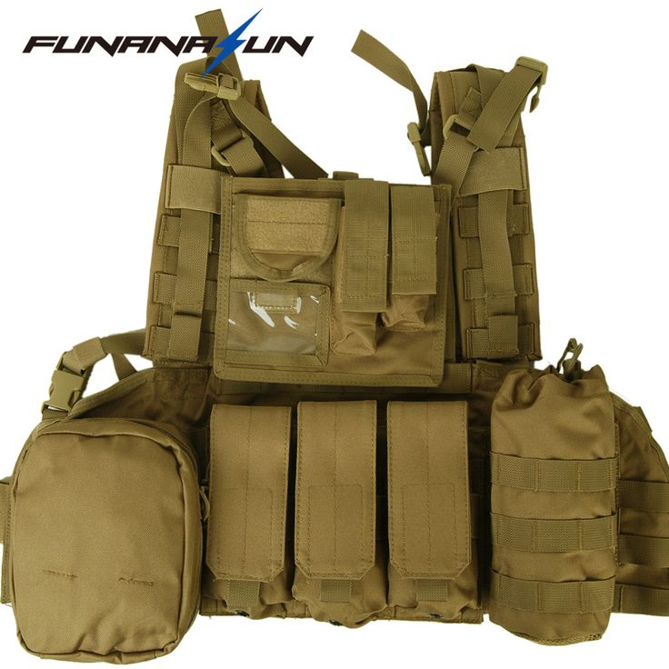 Tactical Painball Molle Combat Vest with Magazine Pouch Led Flashlight Bottle Pouch Hunting Airsoft Swat Vest #Affiliate