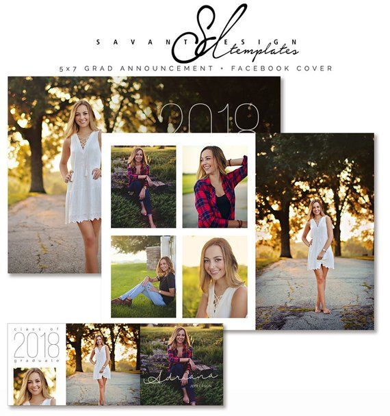 Graduation Announcement Photography Template Senior High Etsy