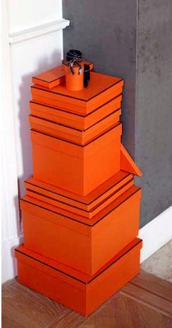 Hermes boxes in classic orange