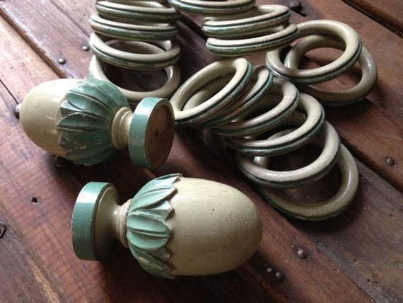 French Wood Curtain Finials Rings Turned Wood by JansVintageStuff