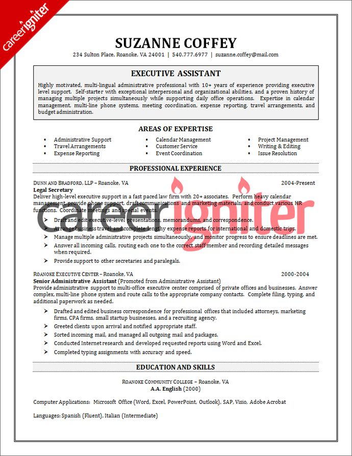 sample of executive assistant resumes