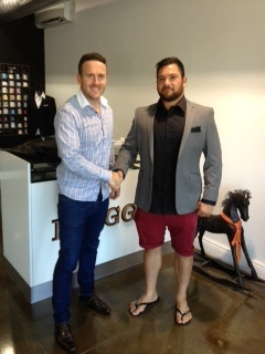 Laurie Weeks at the Briggins showroom after being fitted for his Briggins suit.