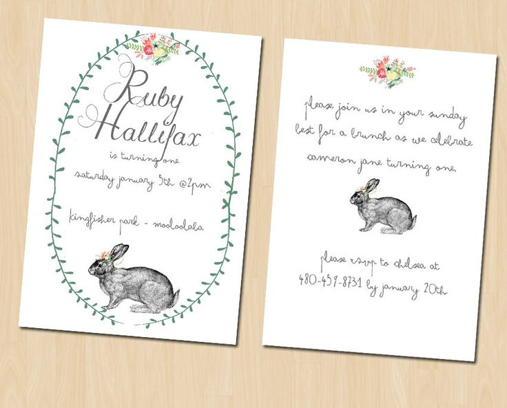 This sweet bunny birthday invitation featuring a vintage bunny rabbit design, with pretty floral wreath and green laurels is a favourite of mine. Popular for 1st birthday celebrations. This simple yet sweet woodland bunny design birthday invitation can be customised for any occasion.  Perhaps you like the design but wish it was for a different occasion? Not a problem! All of my designs can be customised to suit wedding invitations, baby showers, birthday parties, christenings, birth…