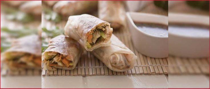 A delicious Chicken Spring Rolls with a Sweet & Sour Watermelon Dip recipe