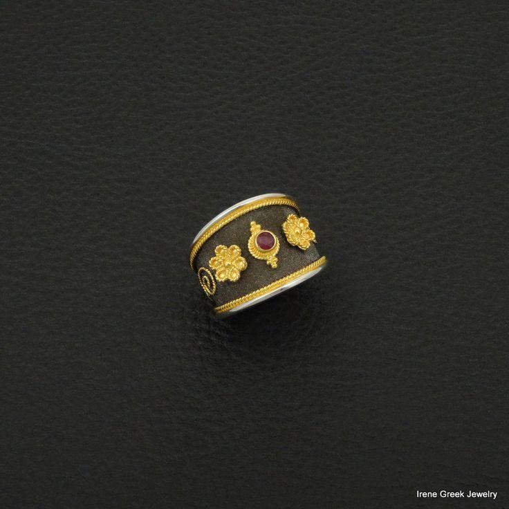NATURAL RUBY BYZANTINE 925 STERLING SILVER 22K GOLD & RHODIUM PLATED GREEK RING #IreneGreekJewelry #Band