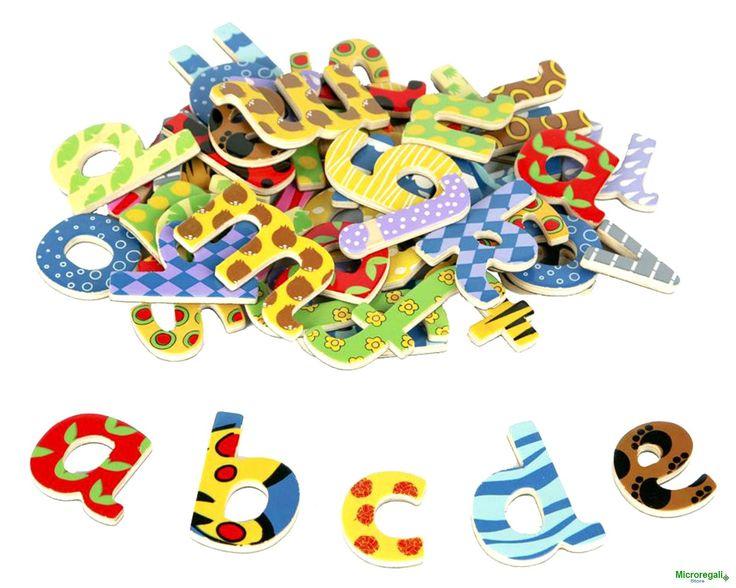 Set LETTERE MAGNETICHE Corsive in Legno 58 pezzi cm 4,5 h Per bambini Età 3+ Anni. Tidlo