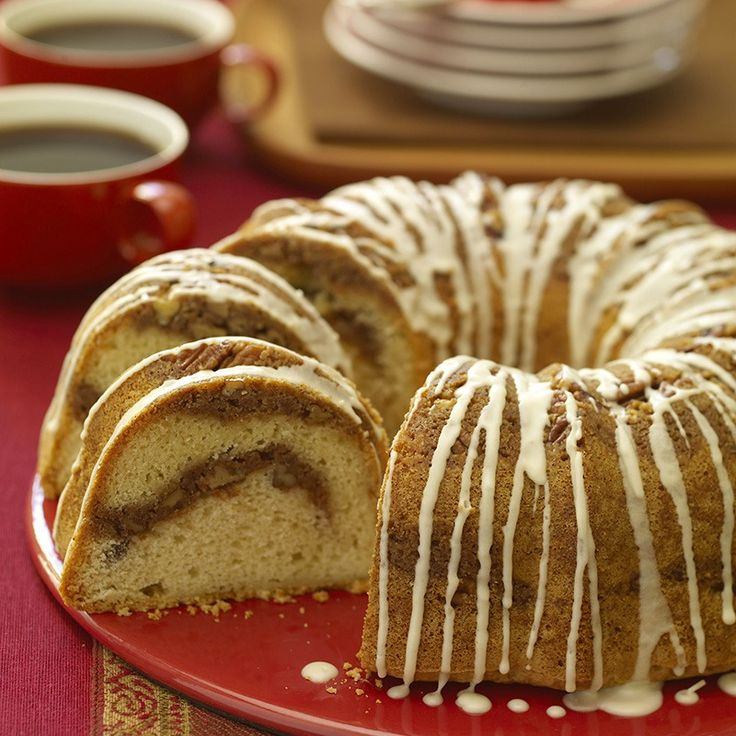 A ribbon of cinnamon weaves a warm, sweet flavor and aroma through this cake. Dust top with confectioners sugar. Or, for a special occasion drizzle with a distinctive glaze, made with Irish cream liqueur.