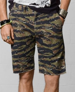 $69, Camo Canvas Shorts by Denim