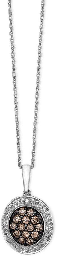 LeVian Le Vian Diamond Chocolate and White Diamond Oval Pendant (3/8 ct. t.w.) in 14k White Gold