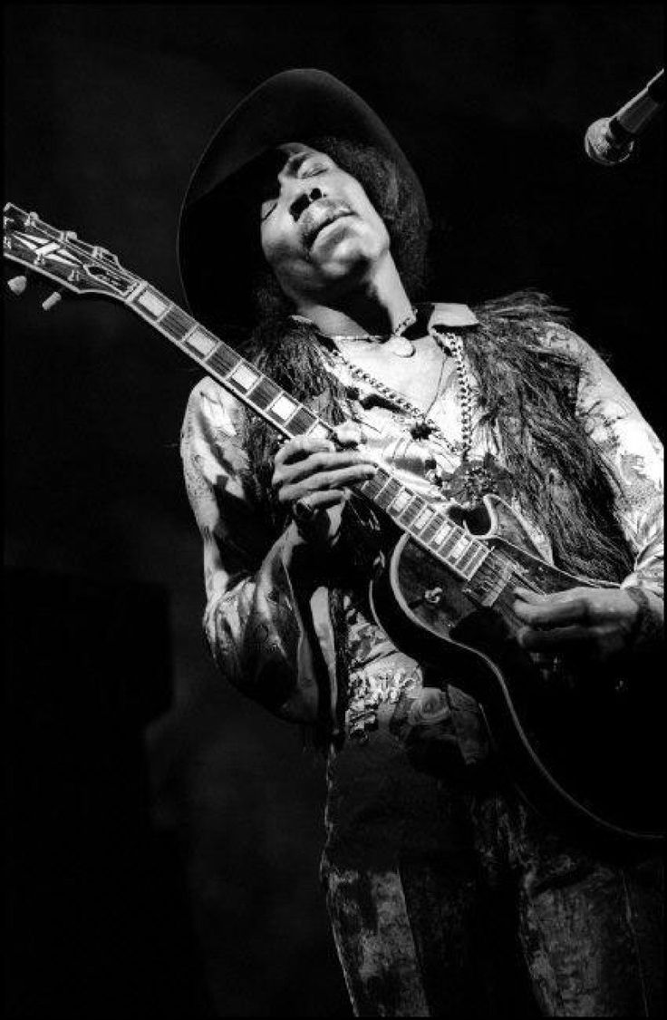 """Elliott Landy, Jimi Hendrix, Fillmore East, NYC, 1968. Playing Gibson Les Paul. """"We never really did know where James came from"""" Hendrix's mother in an interview"""
